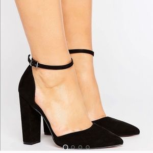 ASOS Pointed Black High Heels with Ankle Strap